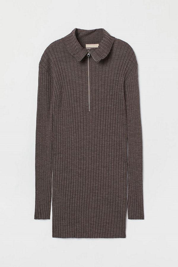 H&M Ribbstickad tröja i merinoull beige