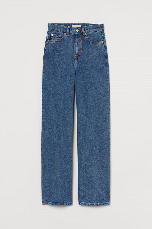 H&M Wide High Jeans blå