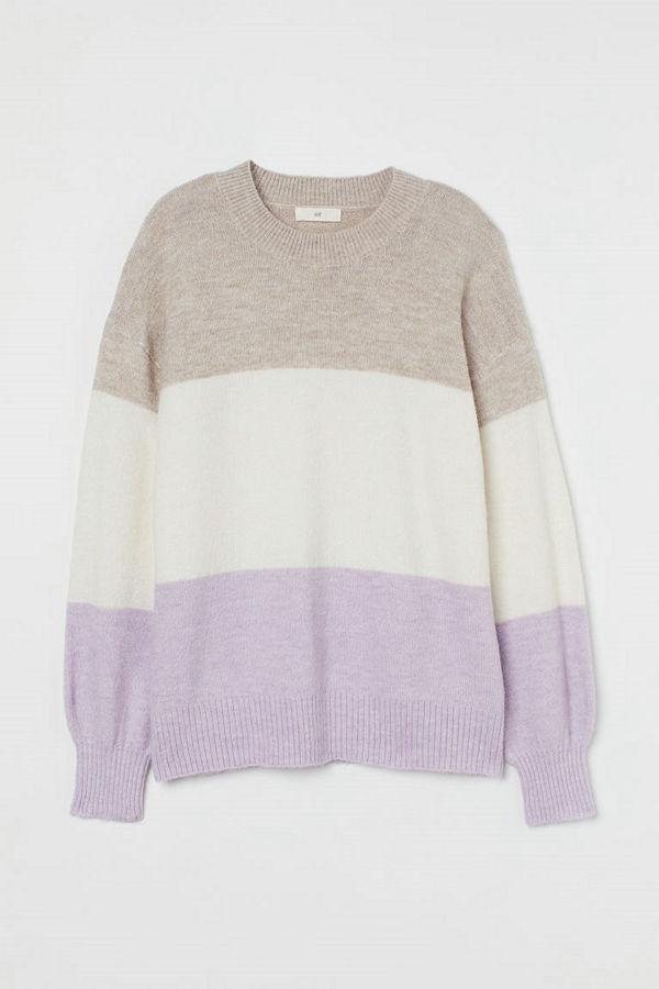 H&M Stickad tröja lila