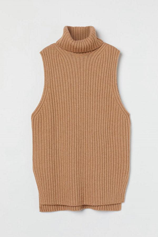 H&M Slipover med polokrage beige