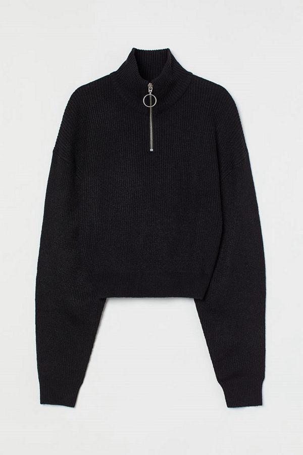 H&M Ribbad tröja med ståkrage svart