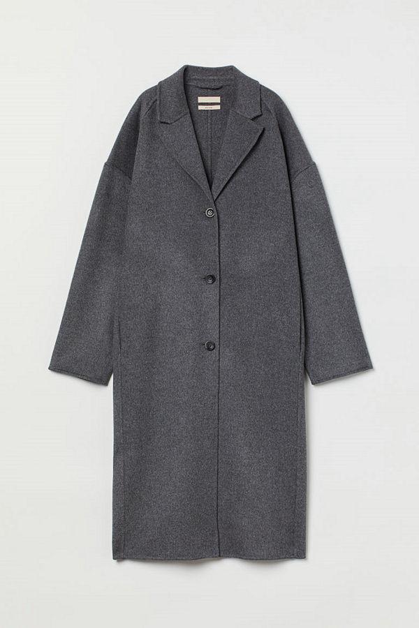 H&M Oversized kappa i ullmix grå