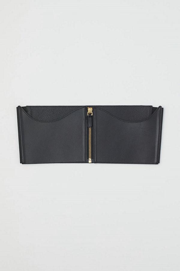 H&M Brett midjeskärp i läder svart