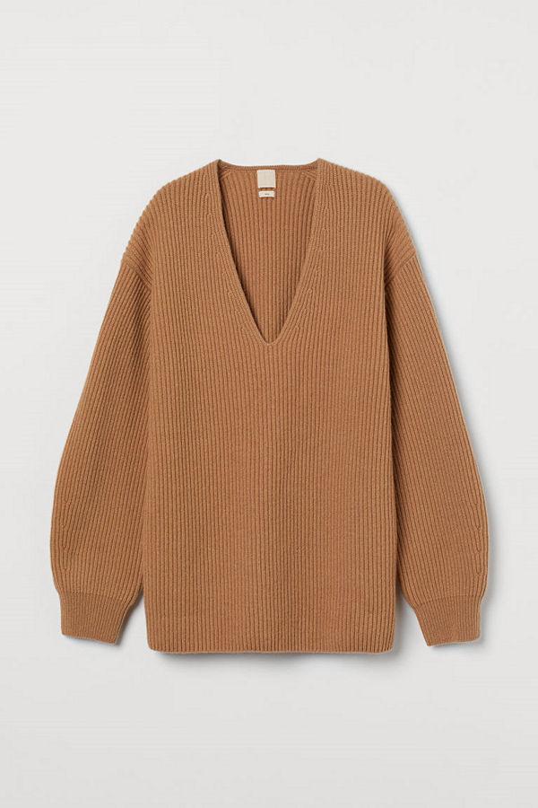 H&M Ribbstickad tröja i ull beige