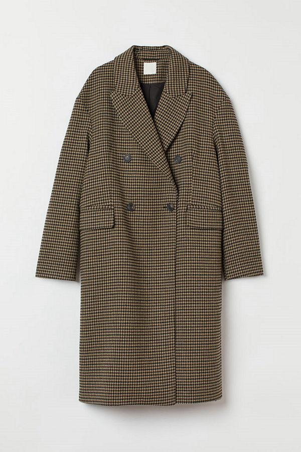 H&M Dubbelknäppt kappa brun