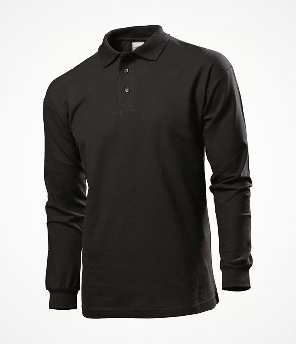 Stedman Polo Long Sleeve Men Black