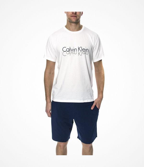 Calvin Klein Knit PJ In A Box PJ Short W SS Crew White/Blue
