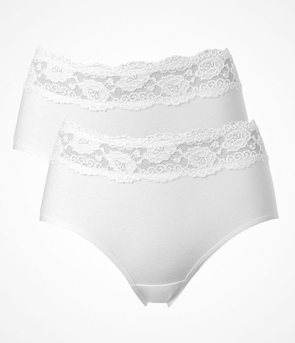 Trofé 2-pack Trofe Lace Trimmed Midi Briefs White
