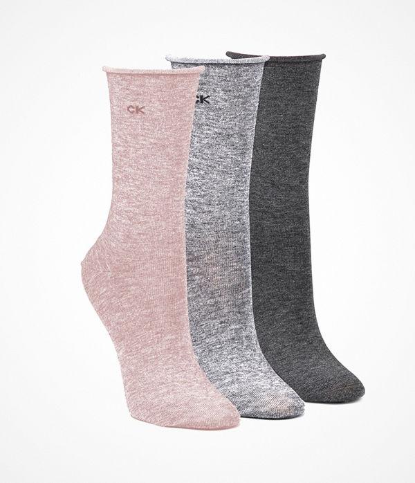 Calvin Klein 3-pack Emma Roll Top Crew Socks Pink/Grey