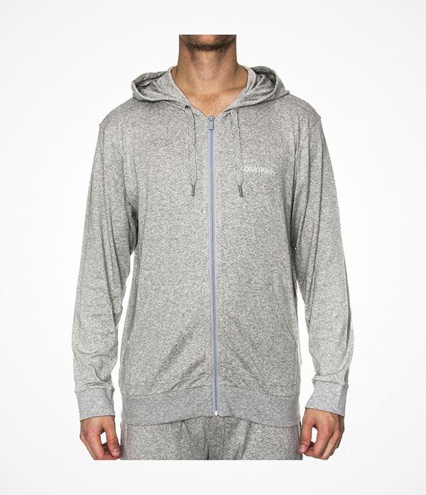 Calvin Klein Cotton Modal Lounge Full Zip Hoodie Grey