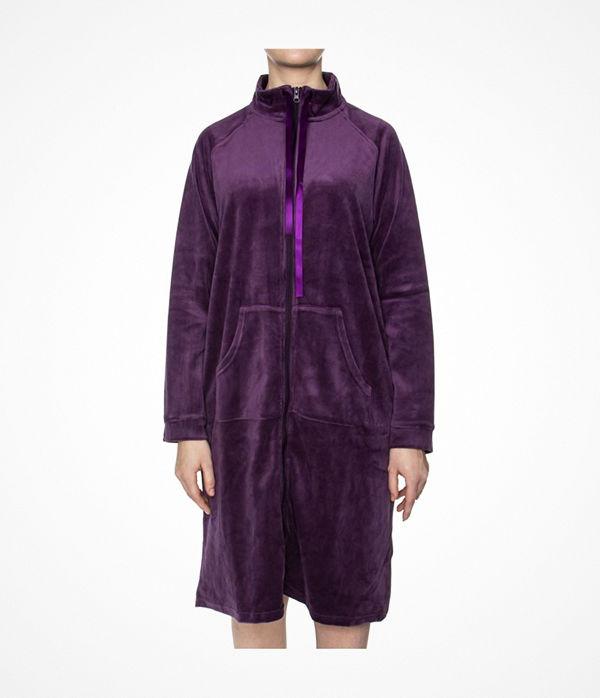 Damella Velour Zip Robe Deep purple