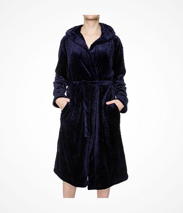 Damella Fleece Cable Hooded Robe Navy-2