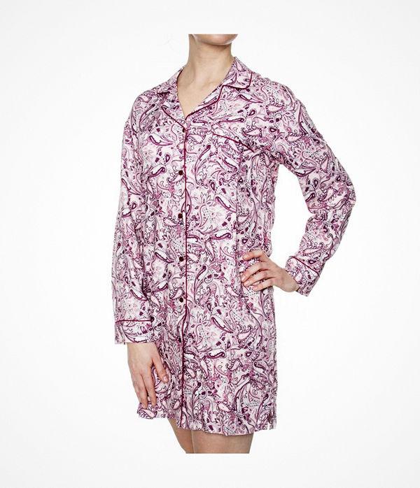 Damella Woven Viscose Nightshirt Pink Pattern