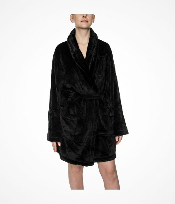 DKNY Signature Robe LS Folded Black