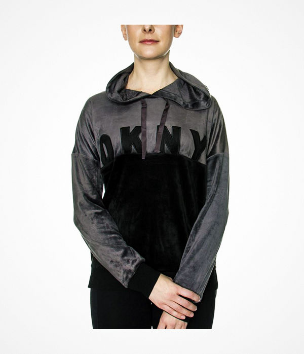 DKNY Modern Generation LS Top With Hood Black