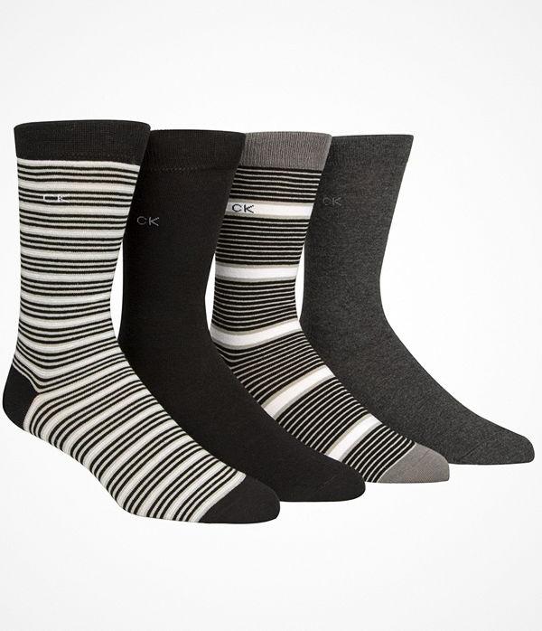 Calvin Klein 4-pack Kyler Striped Socks Gift Tin Black/Grey