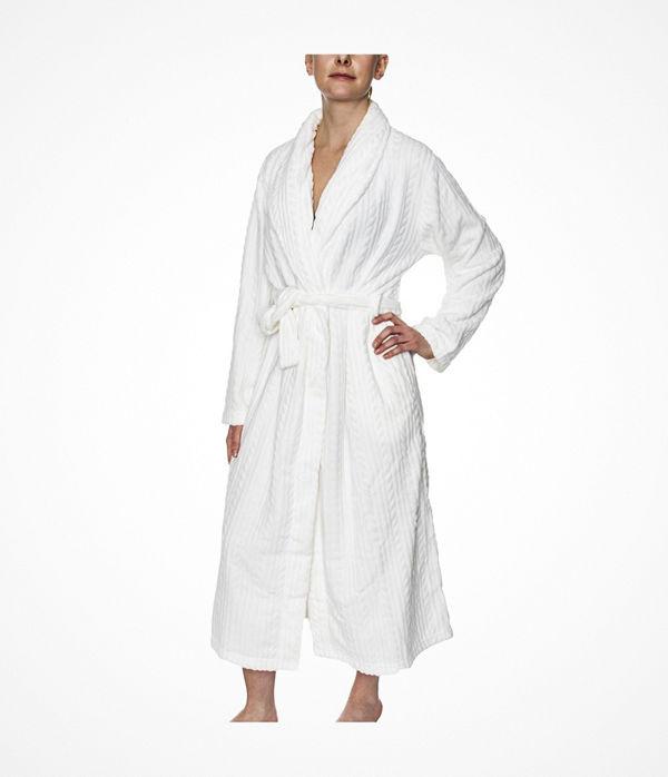 Damella Fleece Cable Robe White