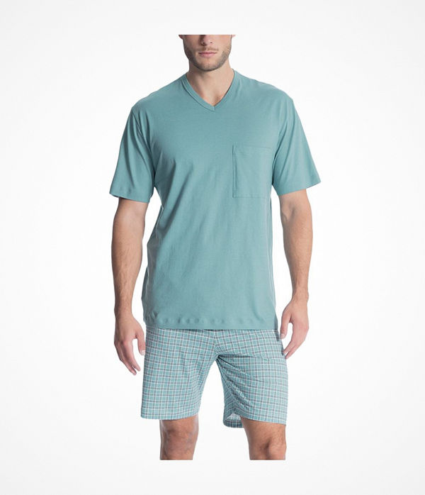 Calida Relax Imprint 1 Short Pyjama 40080 Bluegreen