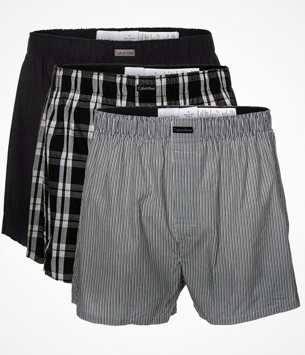 Calvin Klein 3-pack Woven Boxers Black pattern-2