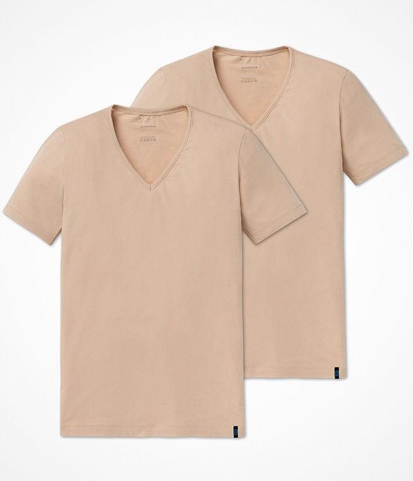 Schiesser 2-pack 95-5 Shirt Short Sleeve Lower V-neck Beige
