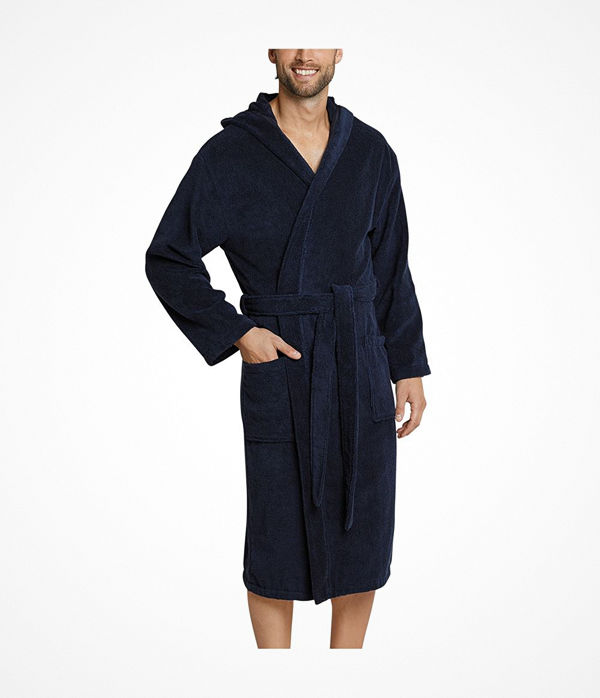 Schiesser Essentials Terry Cloth Bathrobe Navy-2