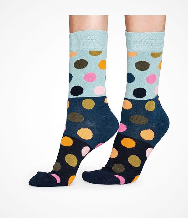 Happy Socks Happy Socks Big Dot Block Sock Blue Pattern