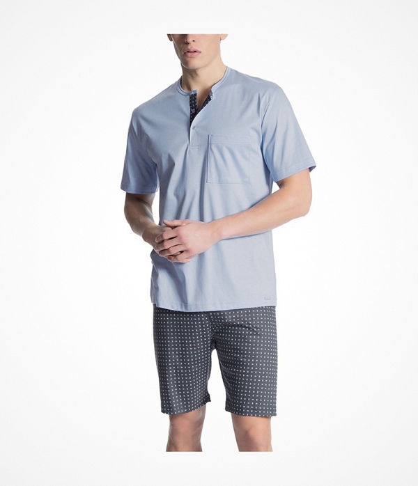 Calida Relax Selected Short Pyjama Lt Blue/Check