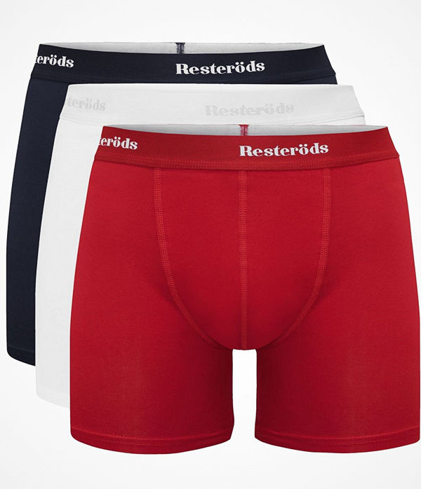 Resteröds 3-pack Organic Cotton Boxer Long Leg Navy/Red