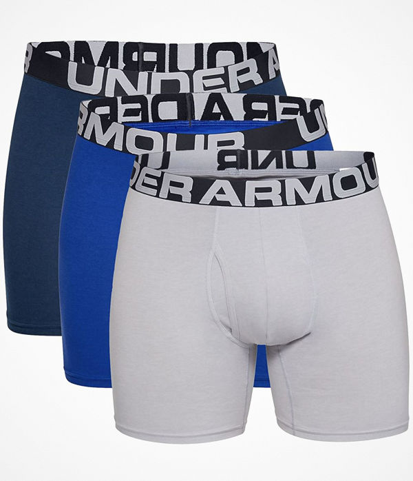 Under Armour 3-pack Charged Cotton 6in Boxer Blue/Grey