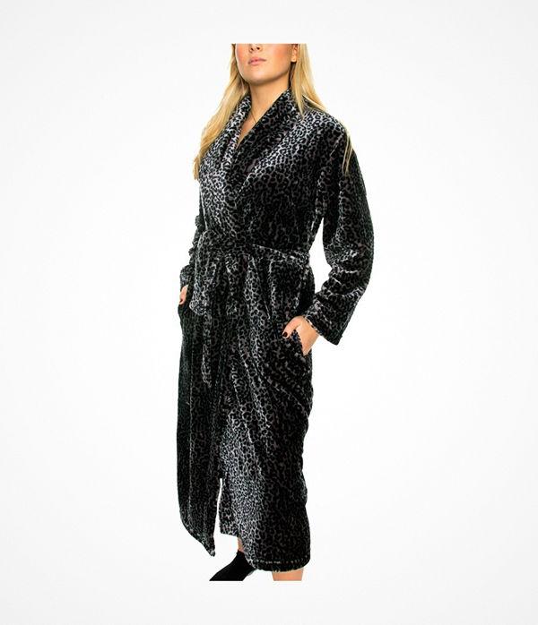 Damella Fleece Printed Robe Leopard