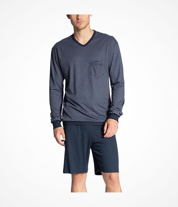 Calida Relax Streamline Short Pyjama LS Blue