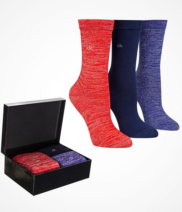 Calvin Klein 3-pack Isla Holiday Sparkle Socks Gift Box Blue/Red