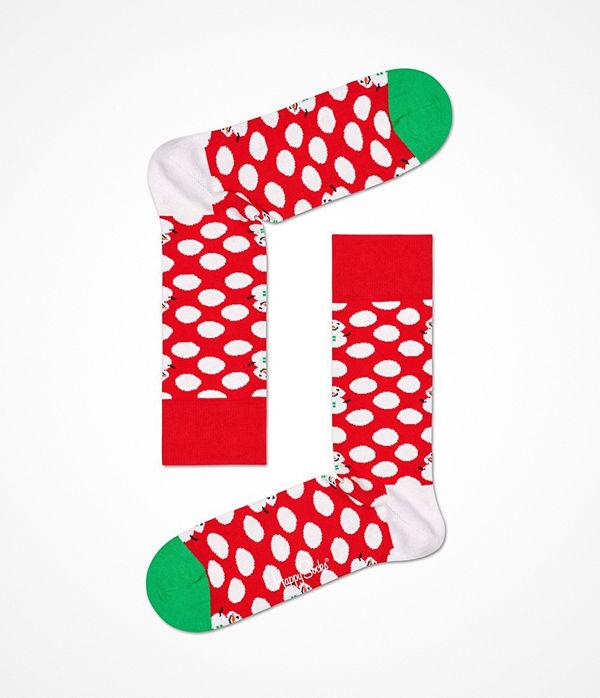Happy Socks Happy Socks Big Dot Snowman Sock Red Pattern-2