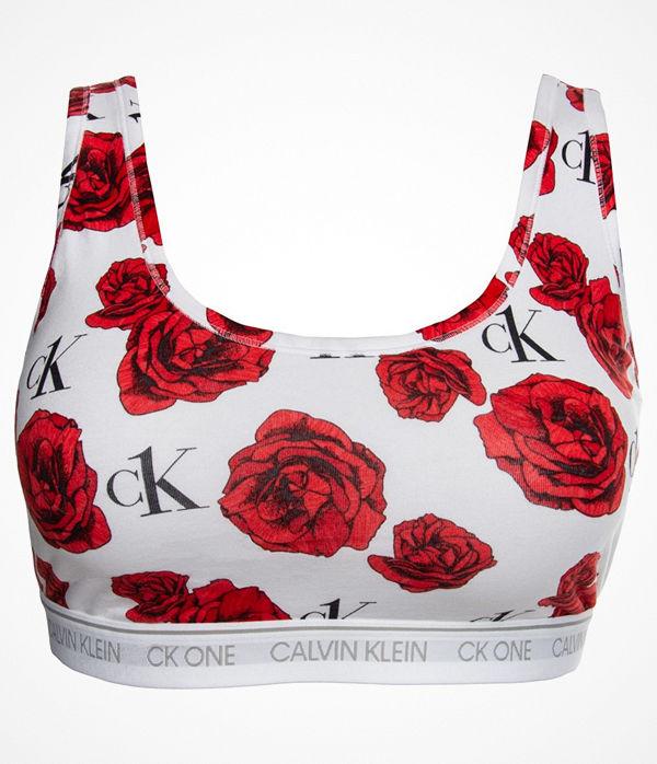 Calvin Klein One Cotton Plus Unlined Bralette White Pattern-2