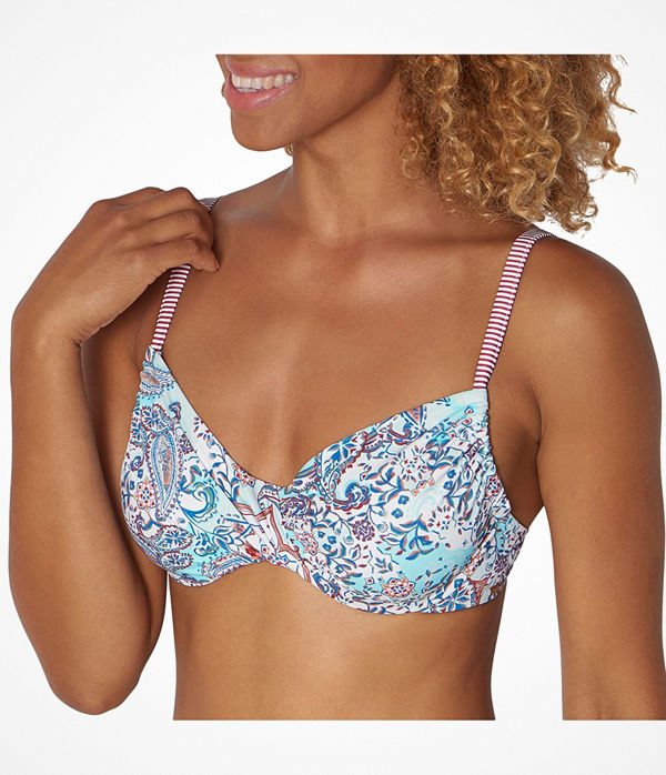 Triumph Riad Paisley Underwire Bikini Bra Blue Pattern