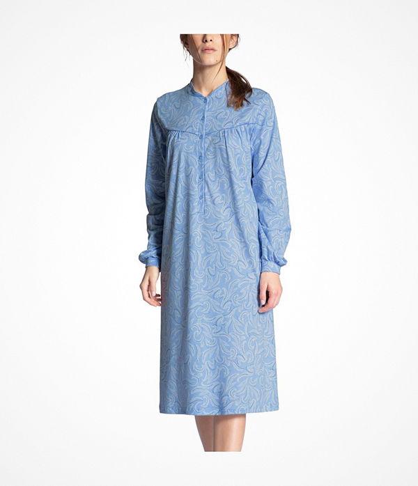 Calida Soft Cotton Nightdress Long Sleeve Blue Pattern