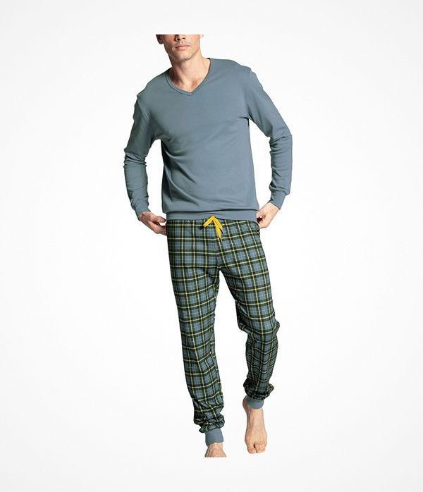 Calida Casual Warmth Pyjama With Cuff Grey/Blue