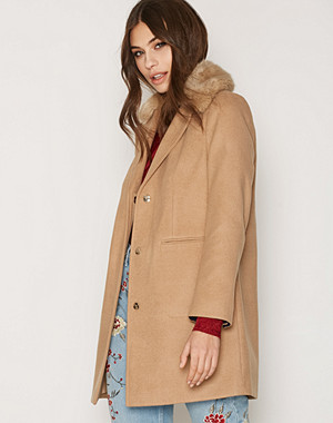 Topshop Fur Collar Boyfriend Coat