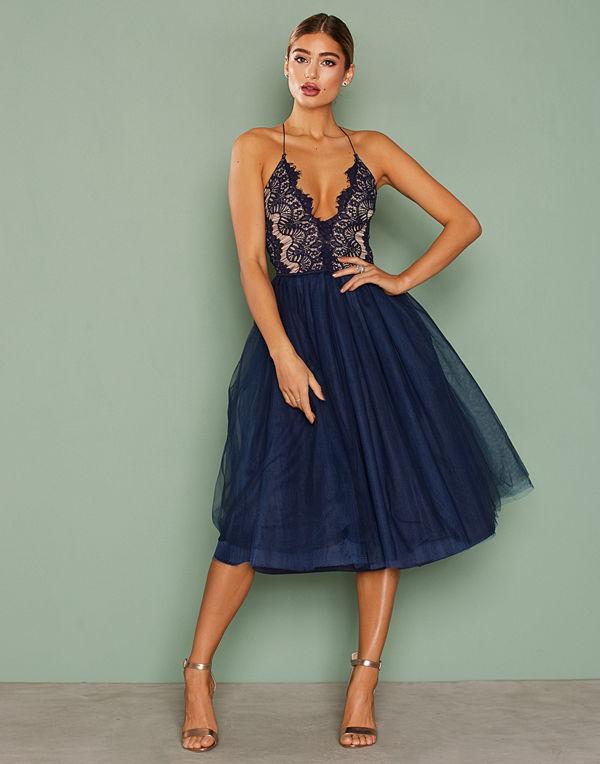 Rare London Lace Panel Midi Dress