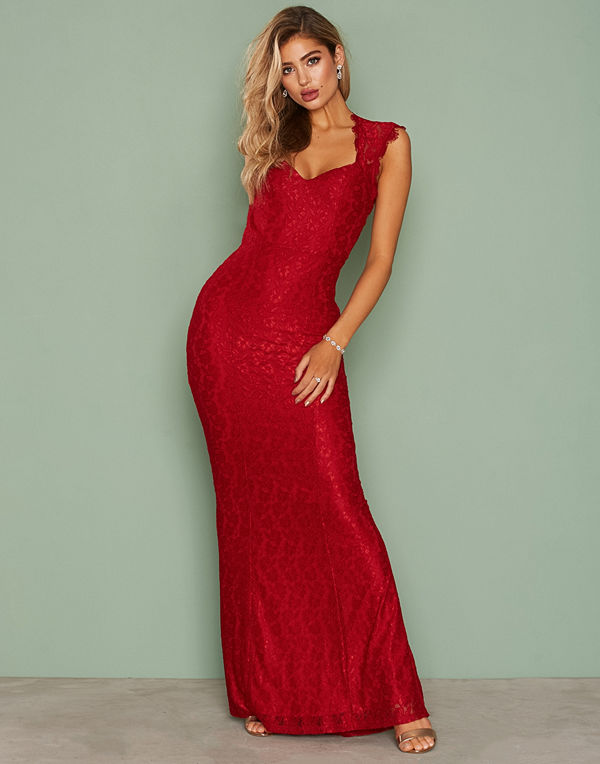 NLY Eve Mermaid Lace Gown Röd