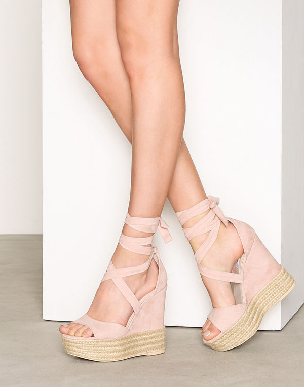 NLY Shoes Lace Wedge Sandal Dusty Pink