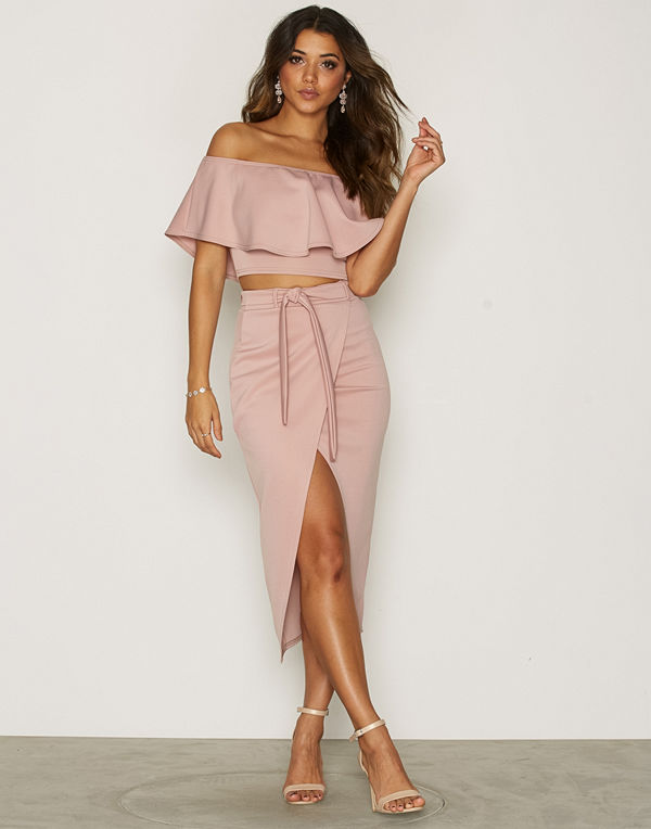 NLY One Wrap Over Skirt Ljus Rosa