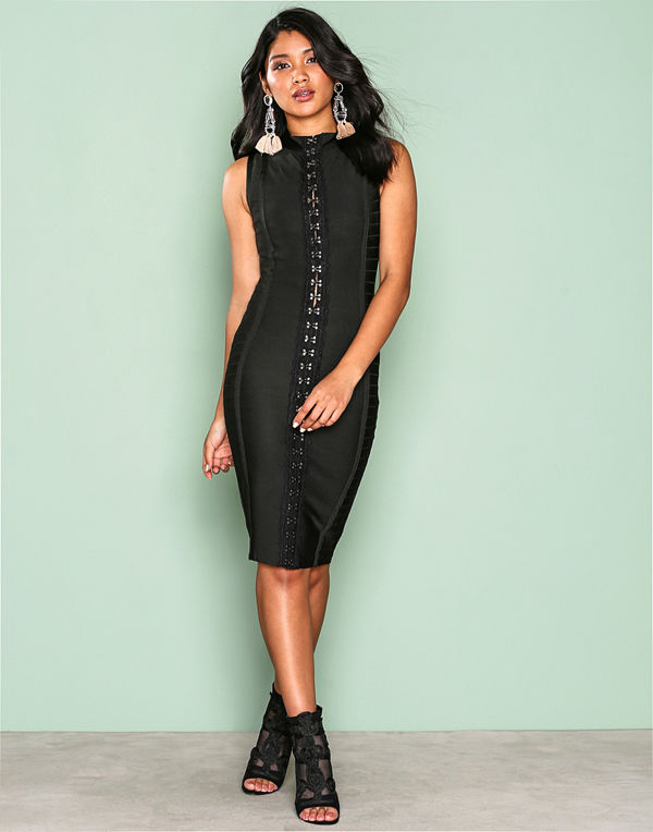 Wow Couture Detailed Front Bodycon Dress Black