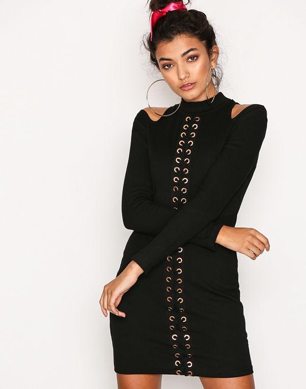 Glamorous Cold Shoulder Lace Detail Dress Black