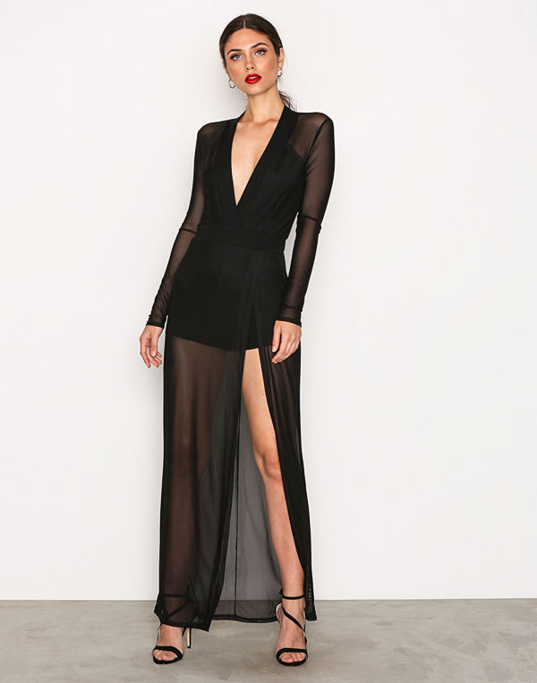 NLY One Mesh High Slit Dress Svart
