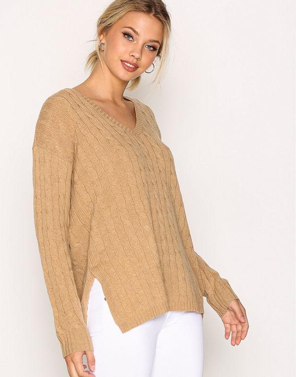 Polo Ralph Lauren Long Sleeve V-Neck Sweater Camel