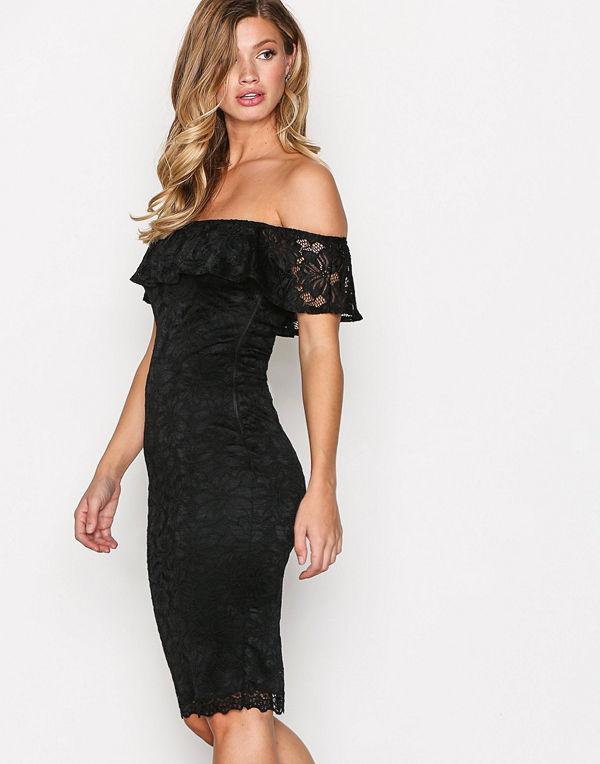 Ax Paris Off Shoulder Flounce Lace Dress Black