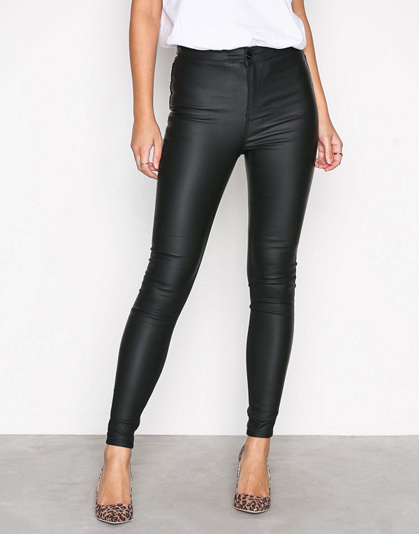 New Look svarta byxor Disco Superskinny Coated Trousers Black