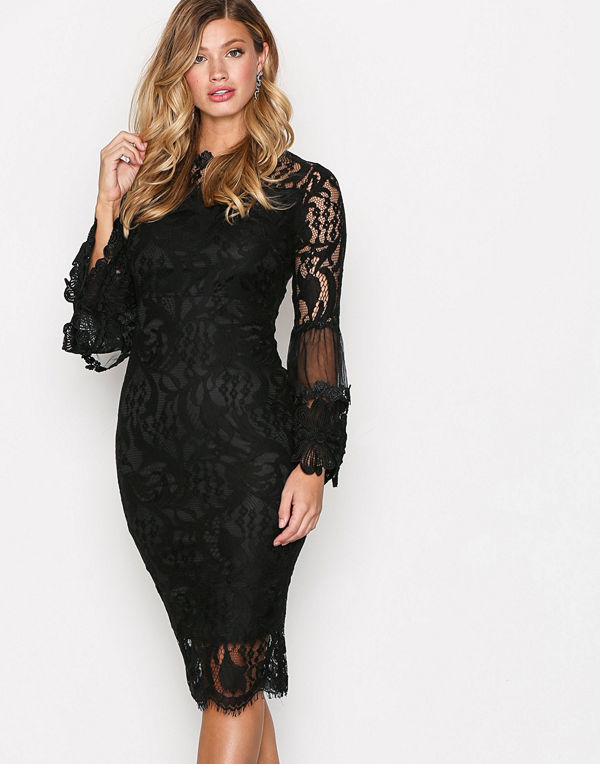 Ax Paris Dreamy Sleeve Lace Dress Black