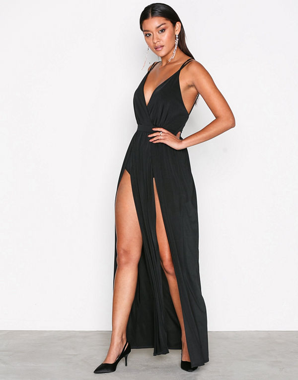 NLY One Double Slit Maxi Dress Svart